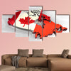 3d flag map of Canada multi panel canvas wall art