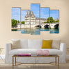 Dark Sky And Greenery All Around The Flora Pavilion Ot The Louvre And Pont Royal, Multi Panel Canvas Wall Art
