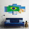 Brazil Flag And Bitcoin Flag Waving Over Blue Sky Multi Panel Canvas Wall Art