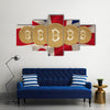 Bitcoin against digitally generated great britain national flag multi panel canvas wall art