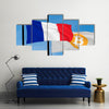 French flag and Bitcoin Flag waving over blue sky (3D rendering) multi panel canvas wall art