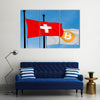 Switzerland Flag And Bitcoin Flag Waving Multi Panel Canvas Wall Art