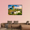 Ancient old Fortress Ross Castle ruin with lake multi panel canvas wall art
