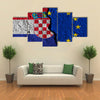 Crack Between European Union And Croatia Flags Multi Panel Canvas Wall Art