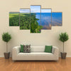 Aerial shot along the coast, Forest, Lake, Panorama multi panel canvas wall art