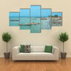 Boats on the shoreline of Barra in Gambia, West Africa Multi Panel Canvas Wall Art