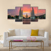 The Democracy Monument at sunset, A historical of constitution monument in Bangkok, Thailand Multi panel canvas wall art