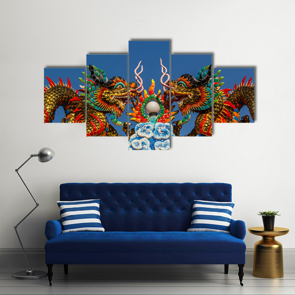 Dragon Is In The Shrine's Beliefs Religious, Thailand Multi Panel Canvas Wall Art