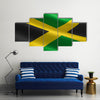 Flag of Jamaica, Illustration of the Jamaican flag waving Multi panel canvas wall art