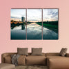 Scenic sunset over a river in a city in Germany multi panel canvas wall art