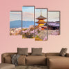 Kiyomizu-dera Temple and cherry in Kyoto, Japan multi panel canvas wall art