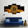 Bitcoin gold coin on black background multi panel canvas wall art