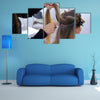Fixing Hairdo in white make up room, Beauty and haircare concept Multi Panel Canvas Wall Art
