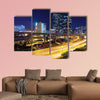 Traffic in modern city at night multi panel canvas wall art