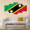Saint Kitts and Nevis flag vector. Caribbean state flag Multi panel canvas wall art