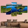 Aerial view of blue lakes and green forests  multi panel canvas wall art
