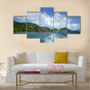 View of the coastline from the sea with the wake of the boat Caribbean Multi panel canvas wall art