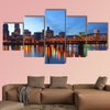 Portland Oregon at dusk Multi panel canvas wall art