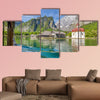 Classic view of traditional passenger boat gliding on Lake Konigssee wall art