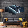 An Astronaut Flying In A 3D Movie All Way From The Space Multi Panel Canvas Wall Art