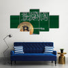 Bitcoin on the background of flag Saudi Arabia multi panel canvas wall art