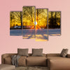Sunset through the Trees in a Cold Winter Day multi panel canvas wall art