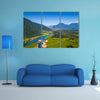 Aerial view of the green valley with river and mountains town of Puerto Aysen, Chile Multi panel canvas wall art