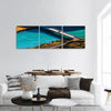 Two cars crossing blue river on the bridge Chile Panoramic canvas Wall Art