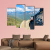 Hiker at Moro Rock Hiking in Sequoia National Park, California, USA Multi panel canvas wall art