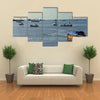 ships and boats at harbor of Pointe-Noire Multi panel canvas wall art