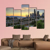 Seattle Washington Skyline and Freeway at Sunset Multi panel canvas wall art