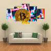 Business graphs close-up Bit coin crypto currency Multi panel canvas wall art