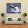 A Humpback Whale Calf Breaches Off Port Stephens While People In A Boat Look On Multi Panel Canvas Wall Art