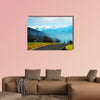 Road at Sigrilwil village in front of Swiss Alps Mountains multi panel canvas wall art