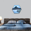 Volcanic rocky hill covered by snow hexagonal canvas wall art