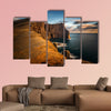 High cliffs of Vagar Island in sunset, Faroe Islands Multi panel canvas wall art