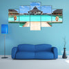 The Wooden pontoon and modern beach houses Multi Panel Canvas Wall Art