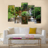 Waterfall in deep forest Multi Panel Canvas Wall Art