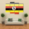 Flags of Uganda in the form of a magnet on refrigerator with reflections light illustration Multi panel canvas wall art