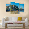 tourists with boats visiting the golden budha triangle Laos Multi panel canvas wall art