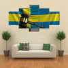 Judges Gavel And Block Against The Flag Of Sweden Multi Panel Canvas Wall Art