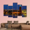 Sunset view across Lake Malaren onto City Hall, Sweden multi panel canvas wall art