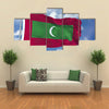 The Flag Of The Maldives Flying In The Blue Sky, Multi Panel Canvas Wall Art