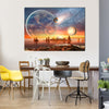3D View Of An Exotic Alien Planet With Planets And Stars And Moon Multi Panel Canvas Wall Art