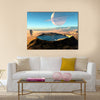 The Trek Of An Astronaut's Around The Crater With Water Multi Panel Canvas Wall Art