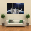 Astronauts In The Zero Gravity Multi Panel Canvas Wall Art