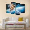 Astronaut's Voyage In The Space Multi Panel Canvas Wall Art