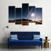 A Silhouette Of Trees And Cloud Line With Milky Way Reflecting From The Sky Multi Panel Canvas Wall Art