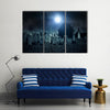 Cemetery Night In The Grave Yard Multi Panel Canvas Wall Art