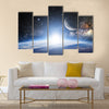 Earth Between The Star Dust In Outer Space Multi Panel Canvas Wall Art